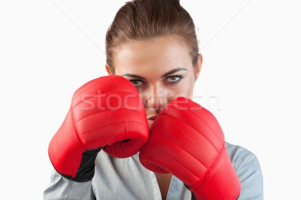 Ernstig zakenvrouw bokshandschoenen witte business Stockfoto © wavebreak_media