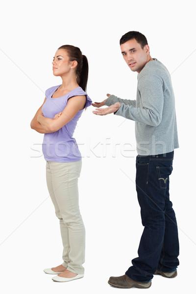 Genç kadın erkek arkadaş soğuk omuz beyaz Stok fotoğraf © wavebreak_media