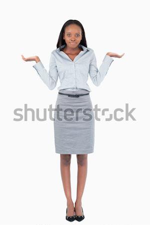 Portret verward zakenvrouw witte business handen Stockfoto © wavebreak_media