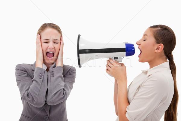 Fiatal menedzser kiabál alkalmazott megafon fehér Stock fotó © wavebreak_media