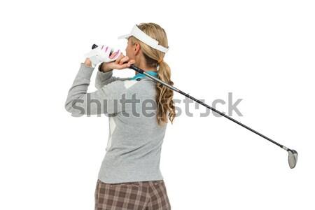 Portrait of a brunette businesswoman looking through binoculars against a white background Stock photo © wavebreak_media