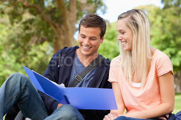 Close-up of a smiling tutor helping a teenager to revise in a park Stock photo © wavebreak_media