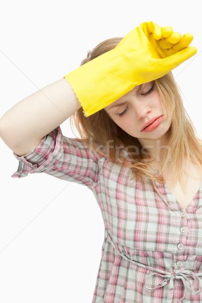 Fáradt nő visel takarítás szegfűszeg fehér Stock fotó © wavebreak_media