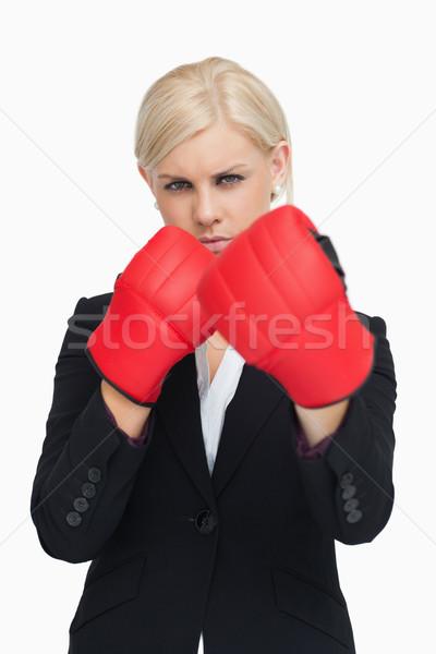 Сток-фото: серьезный · деловая · женщина · красный · боксерские · перчатки · белый