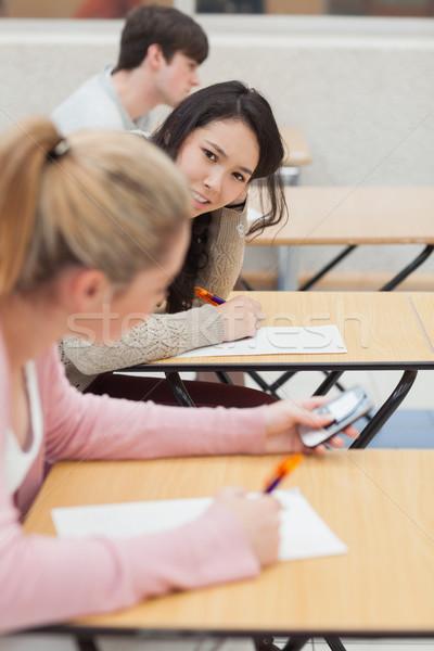 Kadın konuşma sınıf kolej adam Stok fotoğraf © wavebreak_media