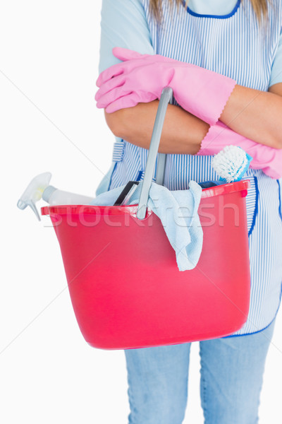 Stok fotoğraf: Hizmetçi · pembe · kova · beyaz · kadın · kadın