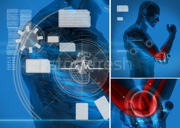 Elleboog pijn graphics interface Blauw digitale Stockfoto © wavebreak_media