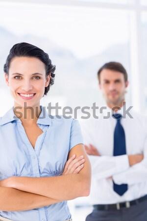 Dwa ludzi biznesu drżenie rąk spotkanie pióro handshake Zdjęcia stock © wavebreak_media