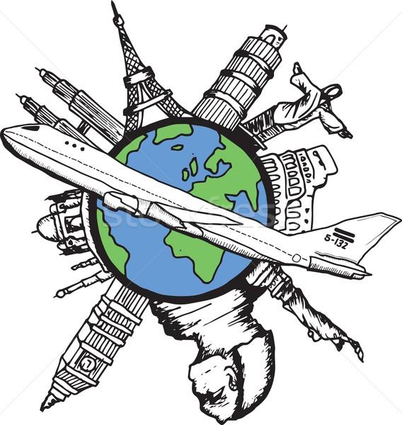 авиация путешествия белый карта самолет Сток-фото © wavebreak_media