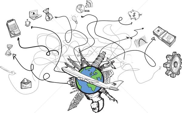 Business internazionale viaggio scarabocchi bianco computer mappa Foto d'archivio © wavebreak_media