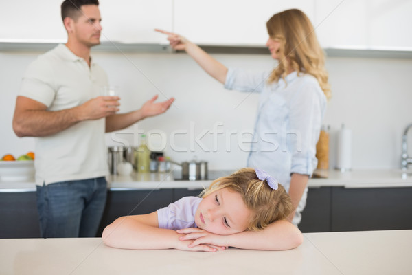 Lány asztal szülők veszekedik szomorú kislány Stock fotó © wavebreak_media