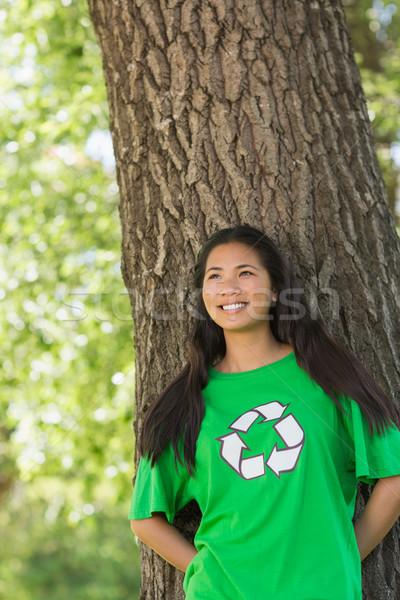 笑顔の女性 着用 緑 リサイクル Tシャツ 公園 ストックフォト © wavebreak_media