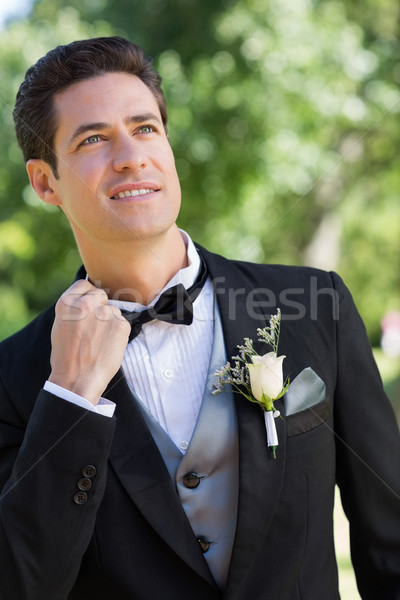 Nervous bridegroom in garden Stock photo © wavebreak_media