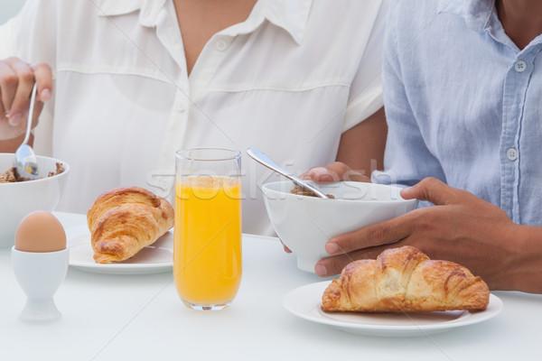 Paar ontbijt samen buiten balkon huis Stockfoto © wavebreak_media