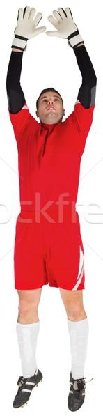 Torhüter rot springen up weiß Fußball Stock foto © wavebreak_media