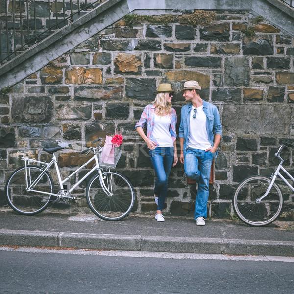 Anca piedi muro di mattoni bikes Foto d'archivio © wavebreak_media