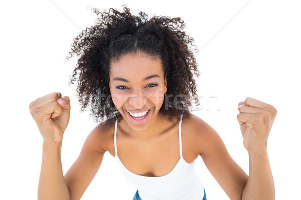 Mooie meisje juichen camera witte zomer Stockfoto © wavebreak_media