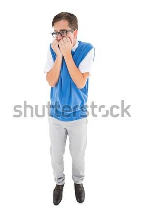 Fiatal hipszter néz ideges fehér száj Stock fotó © wavebreak_media