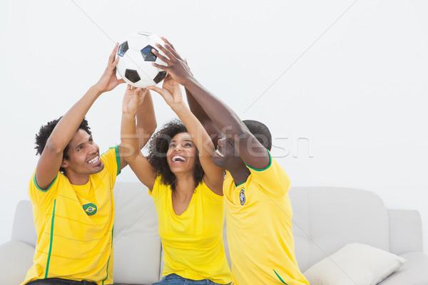 Brezilya futbol fanlar oturma kanepe Stok fotoğraf © wavebreak_media