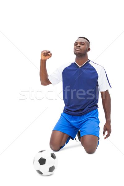 Futballista kék ünnepel fehér boldog sport Stock fotó © wavebreak_media