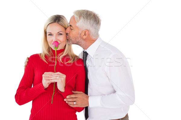 Bell'uomo moglie bacio guancia bianco donna Foto d'archivio © wavebreak_media