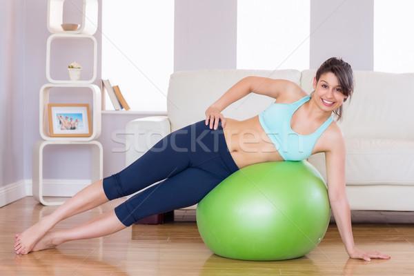 Stock foto: Passen · Brünette · Planke · Position · Ausübung · Ball