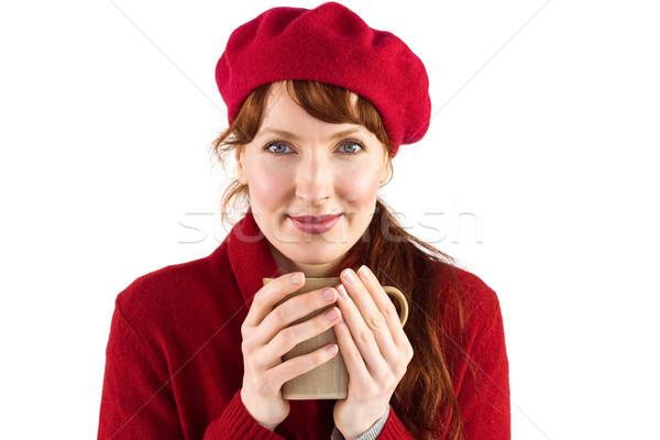Nő tart meleg csésze fehér mosoly Stock fotó © wavebreak_media