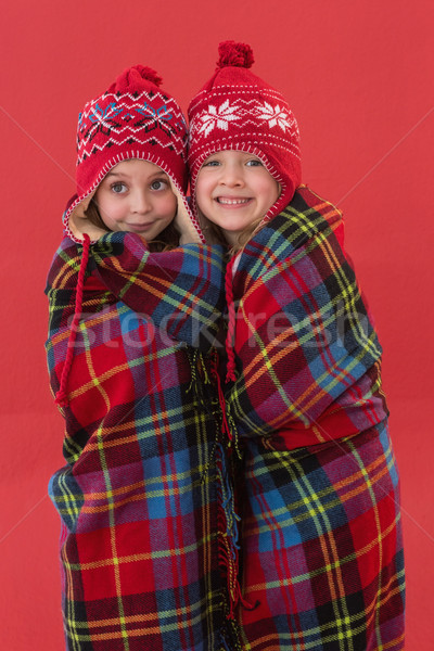 Festive little girls under a blanket Stock photo © wavebreak_media