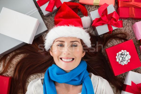 ünnepi vörös hajú nő mosolyog kamera ajándékok otthon Stock fotó © wavebreak_media