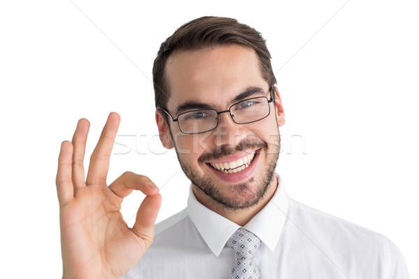 Boldog üzletember készít oké kézmozdulat fehér Stock fotó © wavebreak_media
