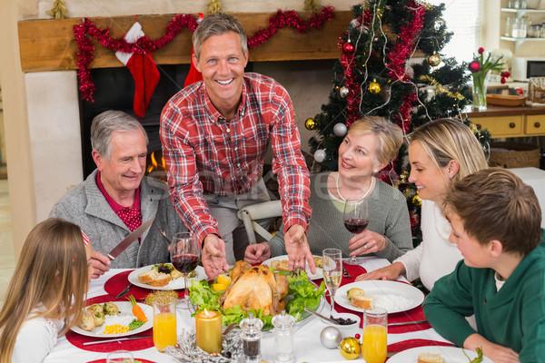 Hombre Turquía Navidad casa salón Foto stock © wavebreak_media