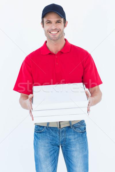 Mutlu pizza kutuları portre Stok fotoğraf © wavebreak_media