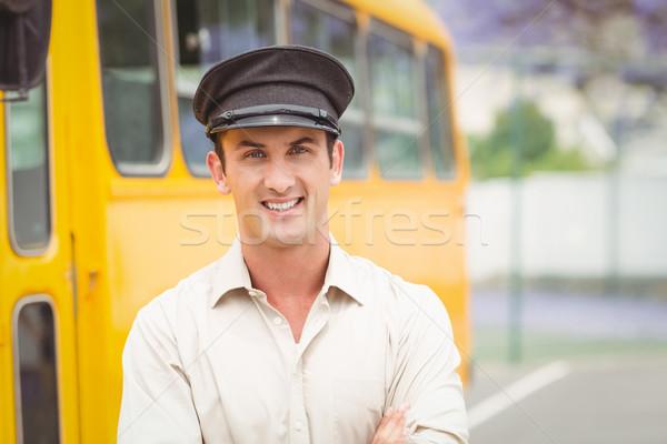 Mosolyog busz sofőr néz kamera kívül Stock fotó © wavebreak_media