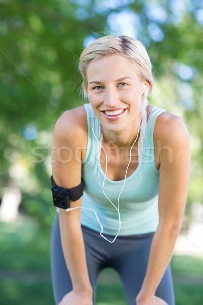 Stockfoto: Mooie · blond · jogging · park · vrouw