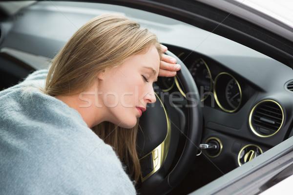 Fáradt nő alszik kormánykerék autó út Stock fotó © wavebreak_media