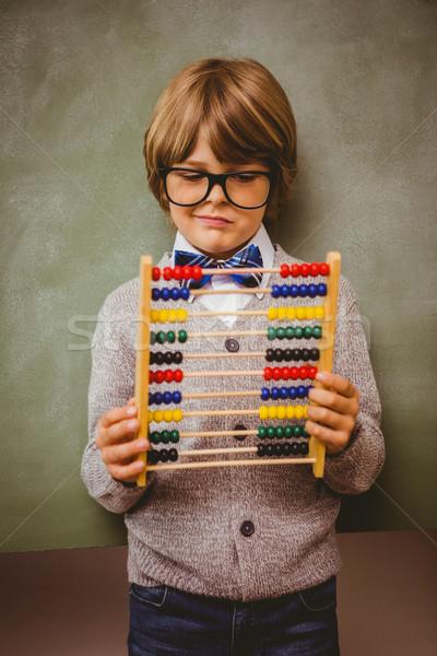 Portré aranyos kicsi fiú tart abakusz Stock fotó © wavebreak_media