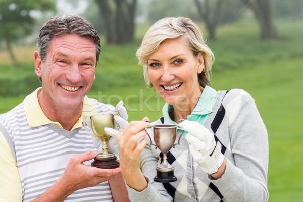 ストックフォト: 幸せ · ゴルフをする · カップル · トロフィー · 日