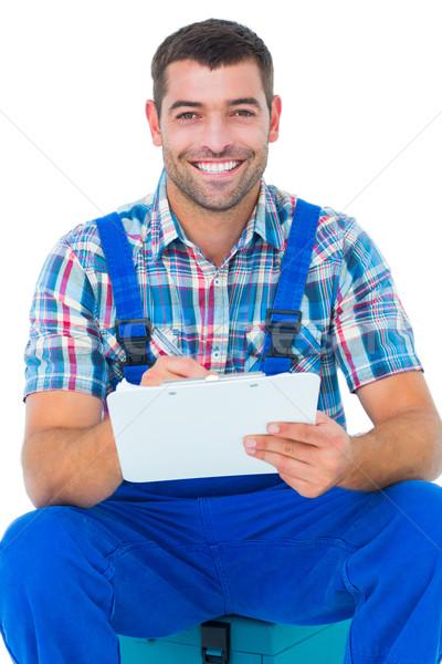 幸せ 配管 書く クリップボード 座って ツールボックス ストックフォト © wavebreak_media