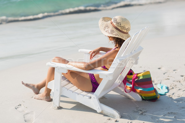 Dość brunetka strój kąpielowy plaży bikini kobiet Zdjęcia stock © wavebreak_media