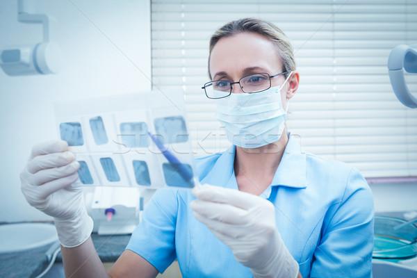 Weiblichen Zahnarzt schauen xray konzentrierter Frau Stock foto © wavebreak_media