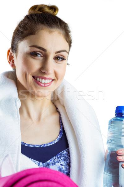 Dopasować brunetka mata do jogi biały zdrowia Zdjęcia stock © wavebreak_media