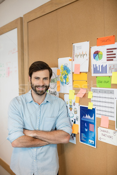 Portrait of confident businessman standing by soft board at office Stock photo © wavebreak_media