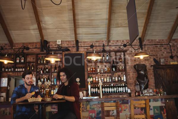 друзей пива Паб счастливым стекла Бар Сток-фото © wavebreak_media