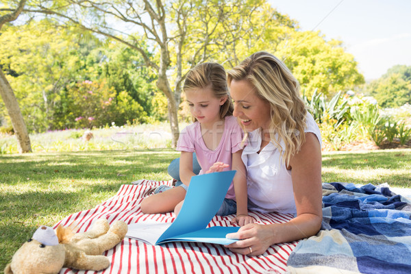 Mother and daughter reading book in park Stock photo © wavebreak_media