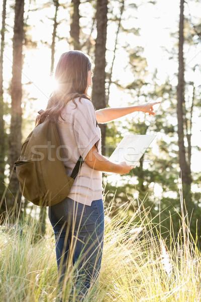 брюнетка турист карта указывая далеко далеко Сток-фото © wavebreak_media