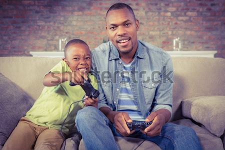 Father and daughter using digital tablet Stock photo © wavebreak_media