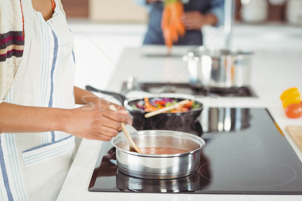 Happy couple preparing meal Stock photo © wavebreak_media