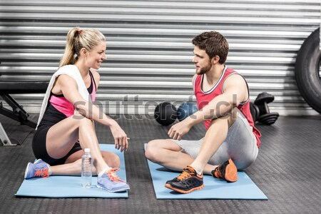 Gespierd vrouw enkel letsel crossfit gymnasium Stockfoto © wavebreak_media