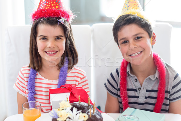 Siblings celebrating birthday Stock photo © wavebreak_media