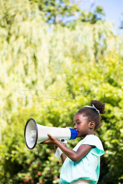 Cute mixed-race girl speaking on a megaphone Stock photo © wavebreak_media